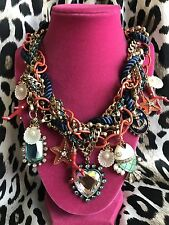 Betsey Johnson Vintage Under The Sea Nautical Clam Crystal Heart Coral Necklace