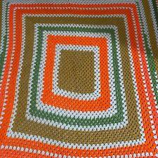 Vintage Afghan Crochet Throw Blanket Orange, Green, Camel, Cream Large - 98 x 77