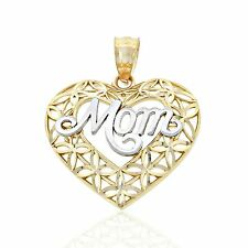 Gold Mom inside Heart Charm, 14k Solid Gold