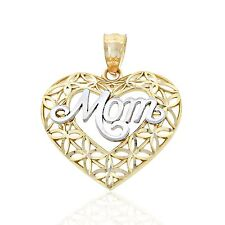 Gold Mom inside Heart Charm, 14k Solid Gold