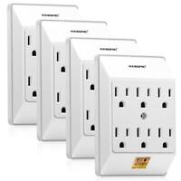 Set of 4 Multi Plug Outlet Wall Mount Power Strip with 6 Outlet Tap Grounded