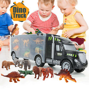 Truck Carrier 12x Dinosaur Play Set Toy Transport Toys Lorry for Kids Xmas Gifts