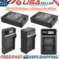 EN-EL14 Battery or Charger for Nikon D5300 D5500 D5200 D3300 D3200 D3100 D5100
