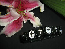 Noir & blanc croix en bois élastiqué Icon Bracelet GOTH / PIRATE
