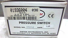 DWYER LOW DIFFERENTIAL PRESSURE SWITCH 1910-0 NEW 19100