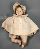 "Vintage 1965 Madame Alexander Pussy Cat 18"" Crier Peach Dress Baby Doll AA"