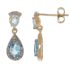 CANDELA 9ct Gold Diamond & Topaz Tear Drop Earrings