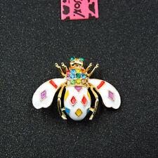 Bee Honeybee Charm Brooch Pin Betsey Johnson Colorful Crystal Rhinestone Cute