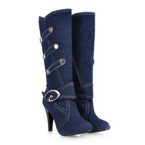 Ladies Denim Knee High Boots Stiletto High Heels Women's Pump Round Toe Shoes