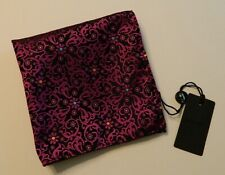 DUCHAMP Men's JACQUARD Silk Pocket Square Handkerchief ITALY  Black/Purple NWT