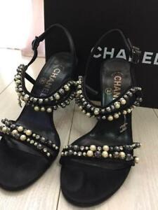 Auth CHANEL CC Pearl Rhinestone Heel Slingback Sandals Size36 Black Used F/S