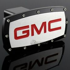 "GMC Hitch Cover Plug Cap 2"" Trailer Tow Receiver BLACK FRAME ALLEN BOLTS DESIGN"