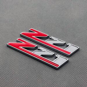 2Pcs Chrome Red Coated Metal Z71 Emblem Badge Car Logo for Silverado Tahoe GMC
