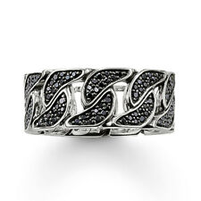 Genuine Thomas Sabo Silver Curb Link Ring Sterling Silver with Black CZ RRP $429