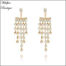 Stunning Art Deco Gold Cascading Rhinestone Chandelier Earring Jackets Earrings