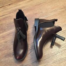ZARA Women's Flat Booties with Tassel(Burgundy , US  8, 9/EUR  39, 40)