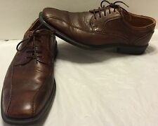 Ecco New Jersey Bicycle Toe Tie Brown Leather Shoes Size 42 Casual Lace Up Shock