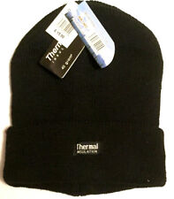 New Mens Thermal Thinsulate Fleece Lined Beanie Ski Hat Black Mens winter hat