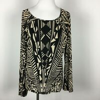 Cable And Gauge XL Knit Top New NWT Black Beige Stretch Geo Print Long Slv