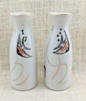 Two (2) Vintage Angel Fish Porcelain Bud Vases - Made in Japan