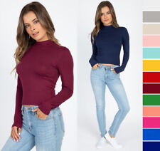 S M L Mock Turtle Neck Top Long Sleeve Basic Solid Stretchy Fitted Crop T-Shirt