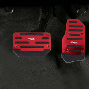 2x Non-Slip Pedal Brake Foot Cover Treadle Belt RED Car Automatic Accelerator C