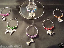6 DOG LIFE theme Wine Glass Charms/Favours/Gift  Handmade by Elizabeth*SRAJD