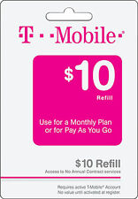T-Mobile Prepaid $10 Refill. Refill! Credit applied DIRECTLY to PHONE