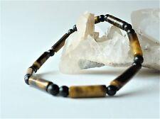 Bracelet perles œil de tigre tubes et obsidienne rondes 4 mm - pierre fine gemme