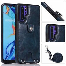 Long strap Premium Hybrid Leather case cover with card holder for iphone huawei