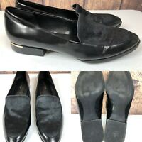 Womens CALVIN KLEIN 'Wenda' Black Leather Calf Hair Loafers Shoes SIZE 9 M