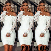 Womens Brides Off Shoulder Long Sleeve Bodycon Maid Party Evening Cocktail Dress