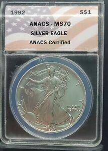 Rare 1992 ANACS MS70 American Silver Eagle / Classic Flag Label
