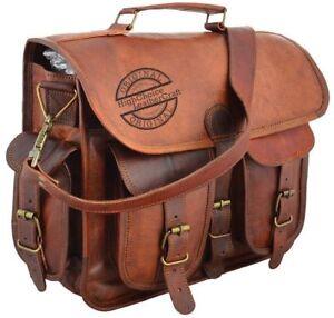 Best Men Genuine Vintage Brown Leather Messenger Shoulder Laptop Bag Briefcase