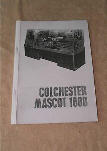 Colchester Mascot 1600 Manual  (Worldwide Shipping)