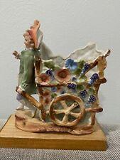 Antique German Bisque Porcelain Boy w/ Wagon Grapes Flowerst Figurine / Vase