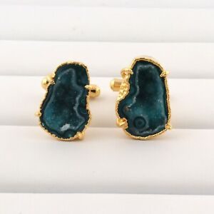 Prong Setting Green Geode Druzy 24k Gold Electroplated Men's Jewelry Cufflinks