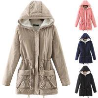 Ladies Women's Winter Warm Fleece Hooded Parka Coats Lined Outwear Jacket Coat