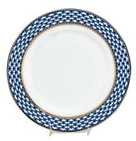 "Set of 6 Russian 10.5"" Cobalt Blue Net Dinner Plates, 24K Gold Dining Porcelain"