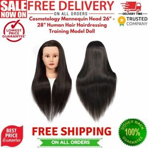 """Cosmetology Mannequin Head 26"""" - 28"""" Human Hair Hairdressing Training Model Doll"""