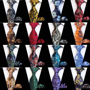 Men's Floral Paisley Necktie Handkerchief High Grade Tie Pocket Square Set