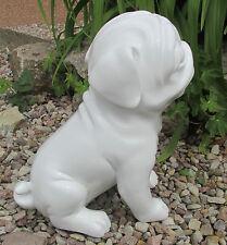 01# MC63005 Dekofigur Mops weiß Gartenfigur Hund Tierfigur Garten Terasse