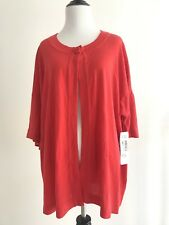Hampshire Studio Womens Plus Size 2X XXL Sweater Red One Button Bell Sleeves