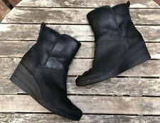UGG Renatta Waterproof Black Wedge Leather Boots Size 10