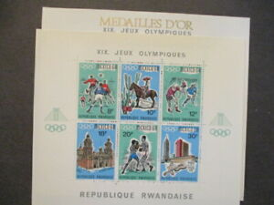 1968 Rwanda s/s pair Mexico olympics w/ & w/out overprint MNH OG