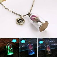 Fashion Glow In The Dark Dried Rose Flower Pendant Necklace Sweater Chain Gift