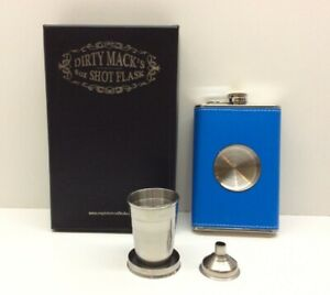 Dirty Mack's 8oz Leather Stainless Steel Hip Whiskey Flask Gift Set Blue
