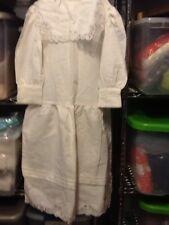 Vintage 80's Girls Boutique Dress Paper White Linen Blend Size 10 Lace White R36