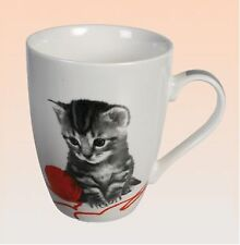 Becher Keramik Tasse mit Henkel Katze Kätzchen