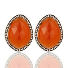 Peach Moonstone CZ 18K Gold Plated 925 Sterling Silver Stud Earrings Jewelry